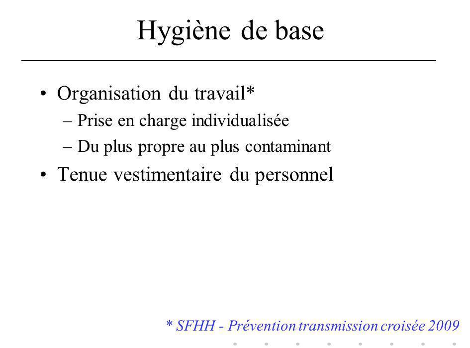 Hygiène de base Organisation du travail*