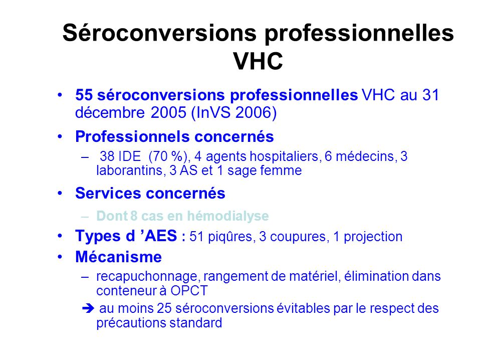 Séroconversions professionnelles VHC