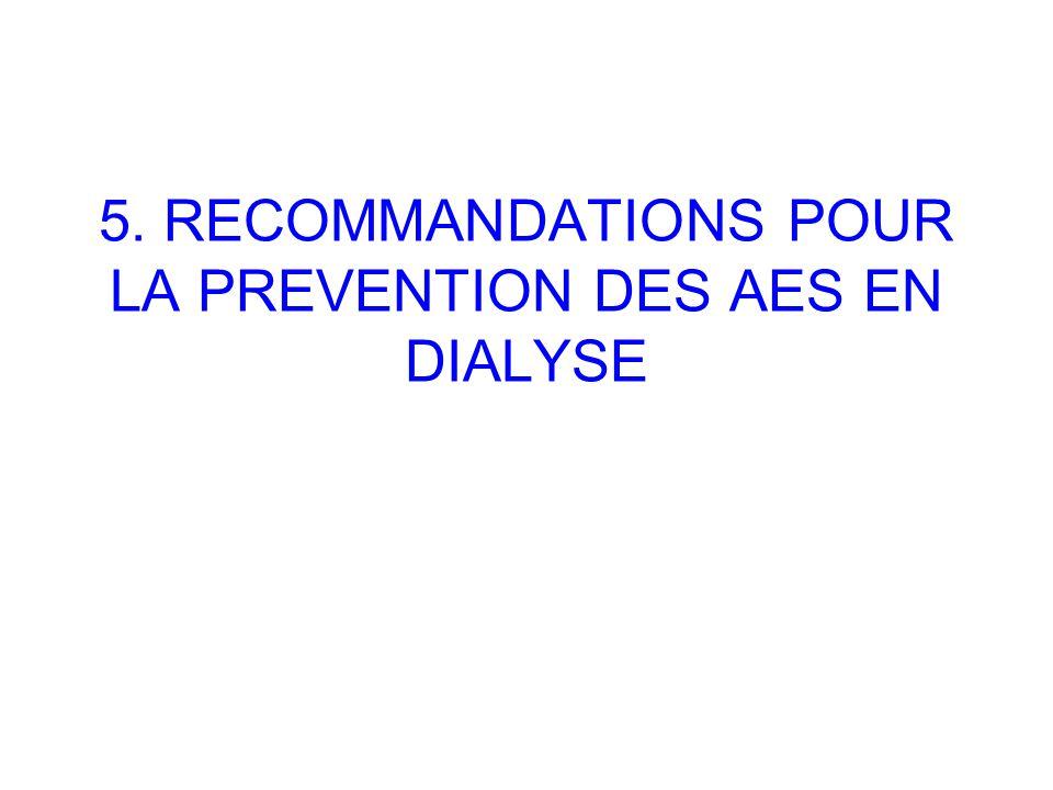 5. RECOMMANDATIONS POUR LA PREVENTION DES AES EN DIALYSE