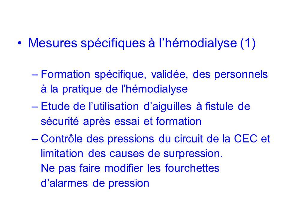 Mesures spécifiques à l'hémodialyse (1)