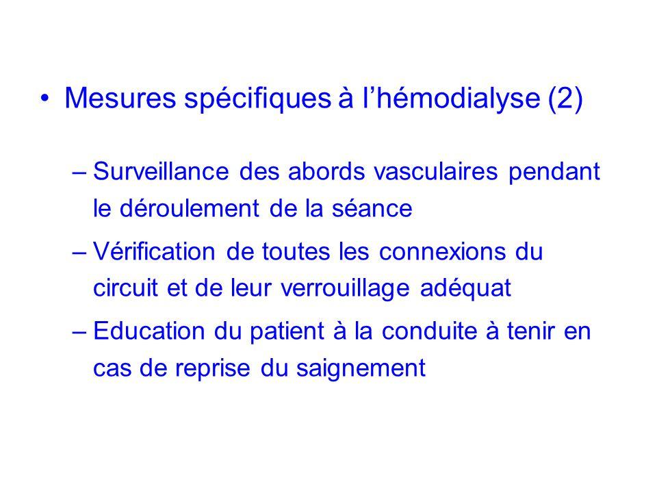 Mesures spécifiques à l'hémodialyse (2)