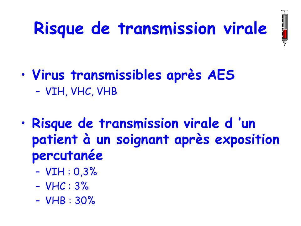 Risque de transmission virale