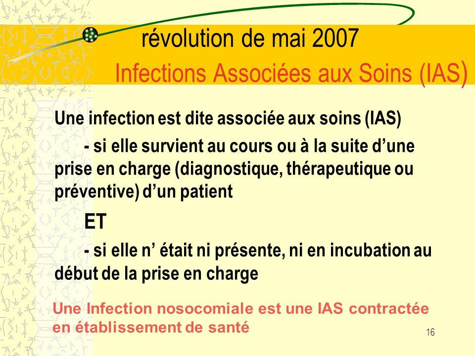 révolution de mai 2007 Infections Associées aux Soins (IAS)
