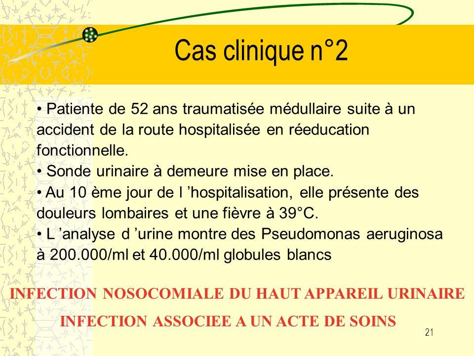 Cas clinique n°2 Patiente de 52 ans traumatisée médullaire suite à un accident de la route hospitalisée en réeducation fonctionnelle.