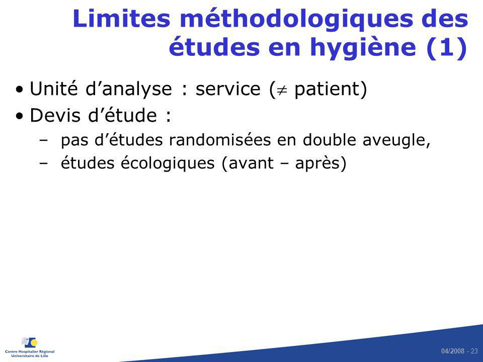Limites méthodologiques des études en hygiène (1)