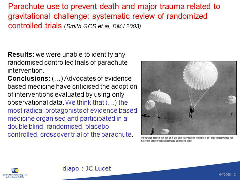 Parachute use to prevent death and major trauma related to gravitational challenge: systematic review of randomized controlled trials (Smith GCS et al, BMJ 2003)