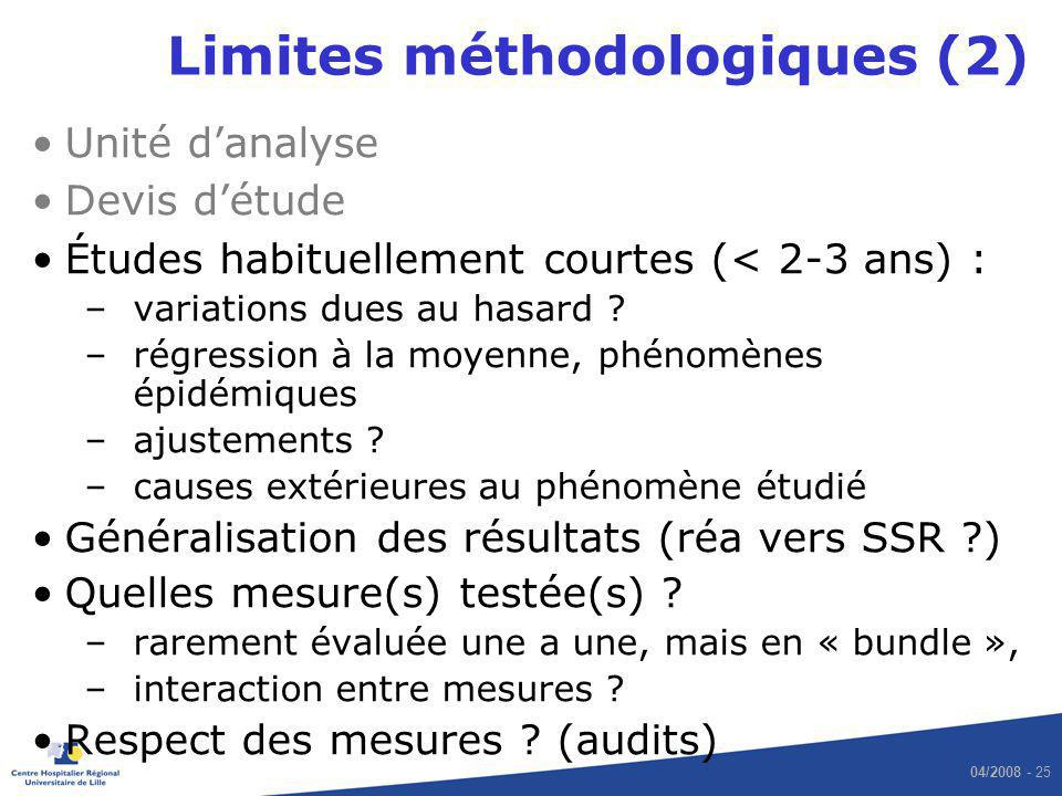 Limites méthodologiques (2)