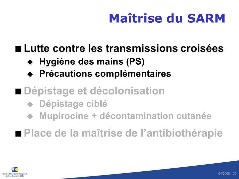 Maîtrise du SARM Lutte contre les transmissions croisées