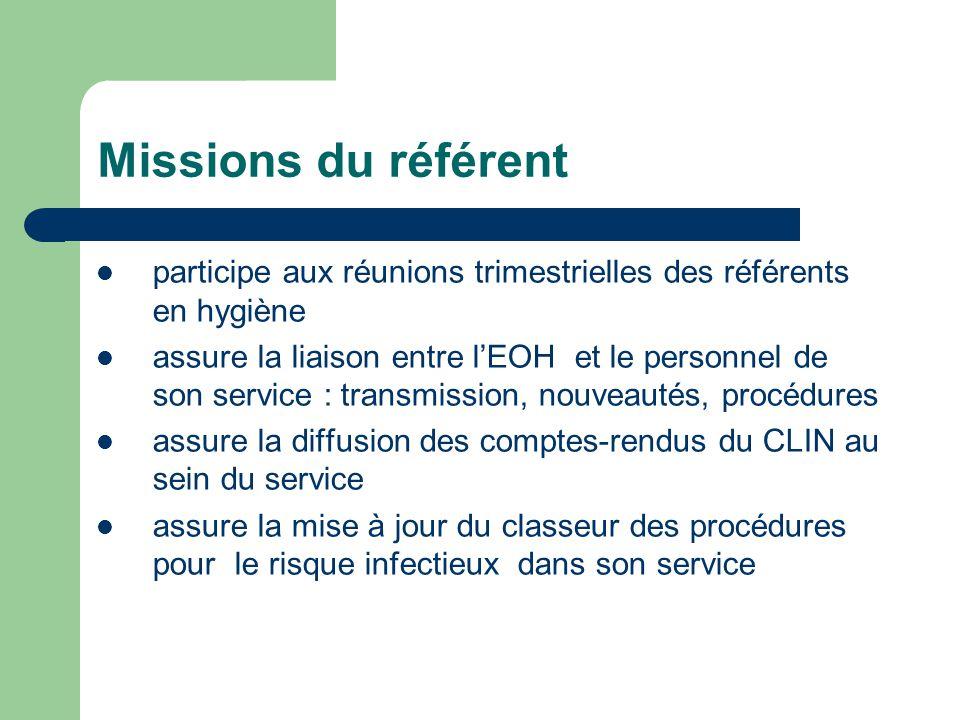 Missions du référent participe aux réunions trimestrielles des référents en hygiène.