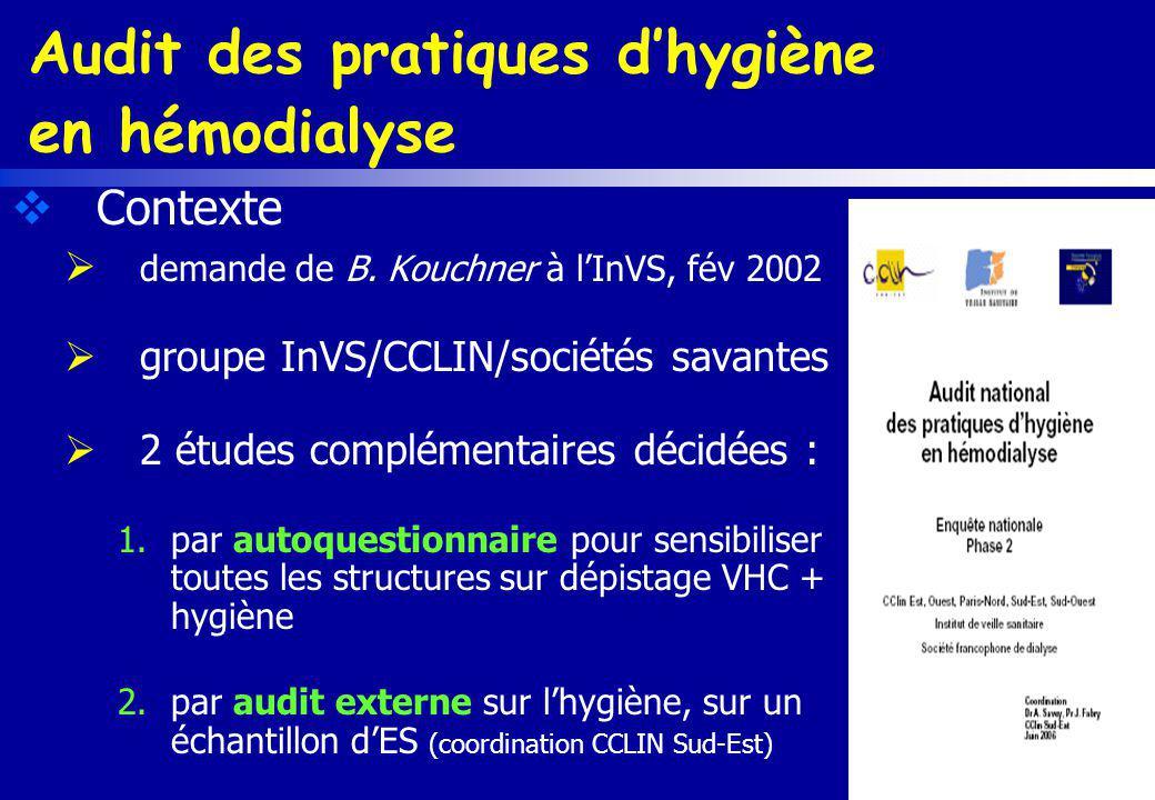 Audit des pratiques d'hygiène en hémodialyse