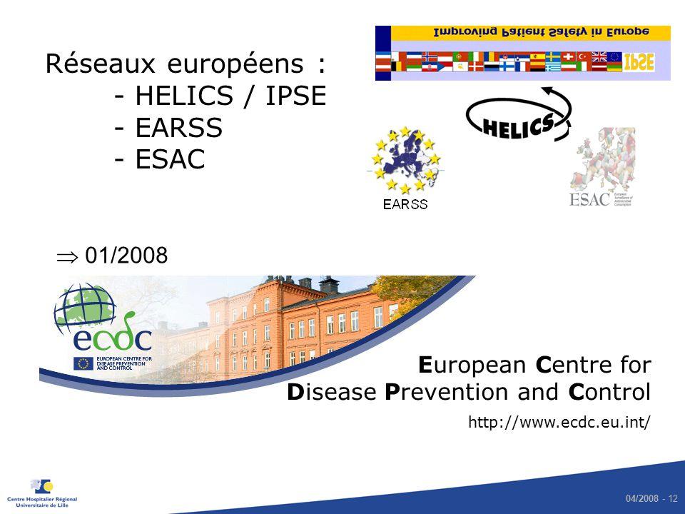 Réseaux européens : - HELICS / IPSE - EARSS - ESAC  01/2008