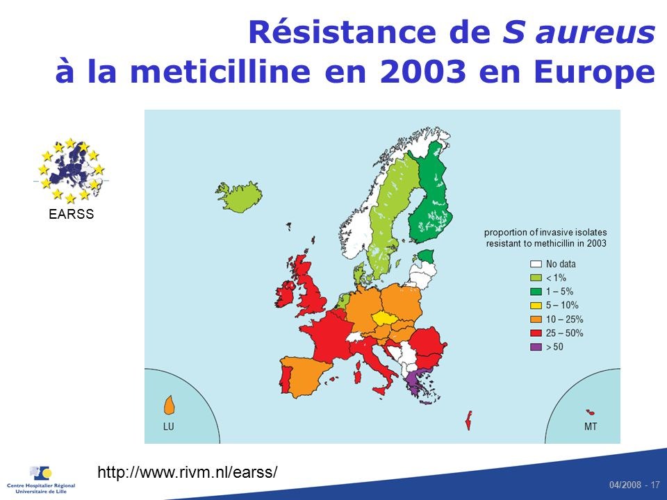 proportion of invasive isolates resistant to methicillin in 2003