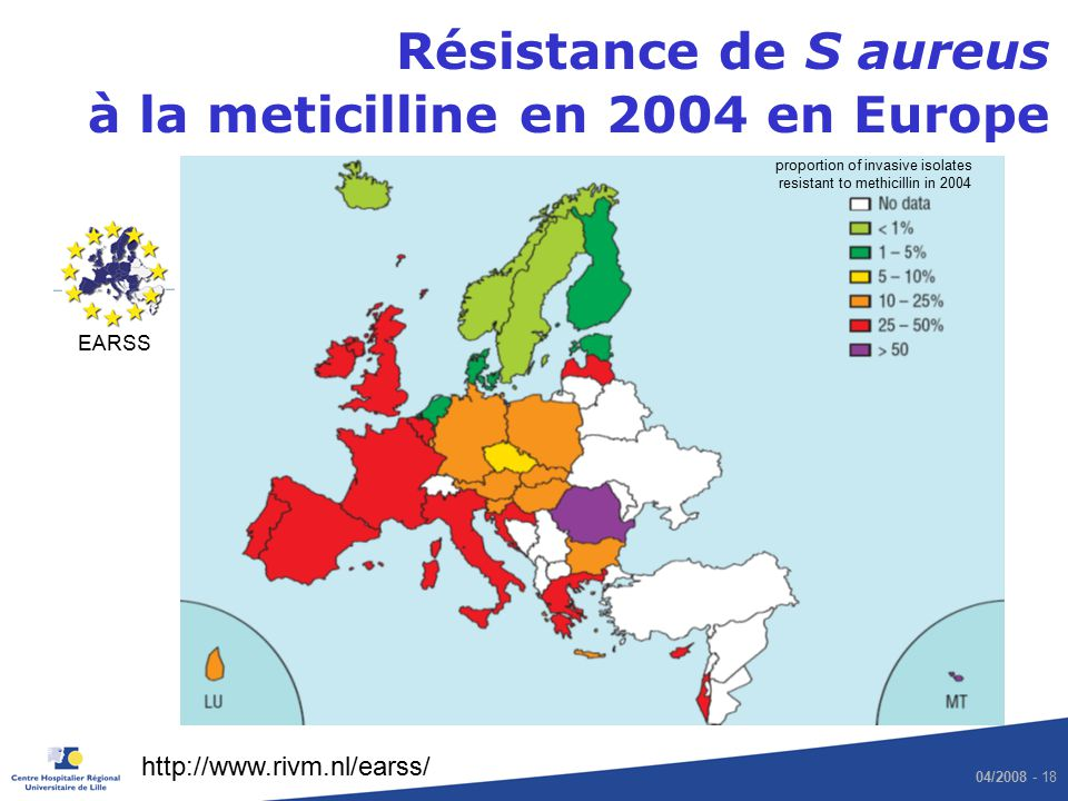 proportion of invasive isolates resistant to methicillin in 2004