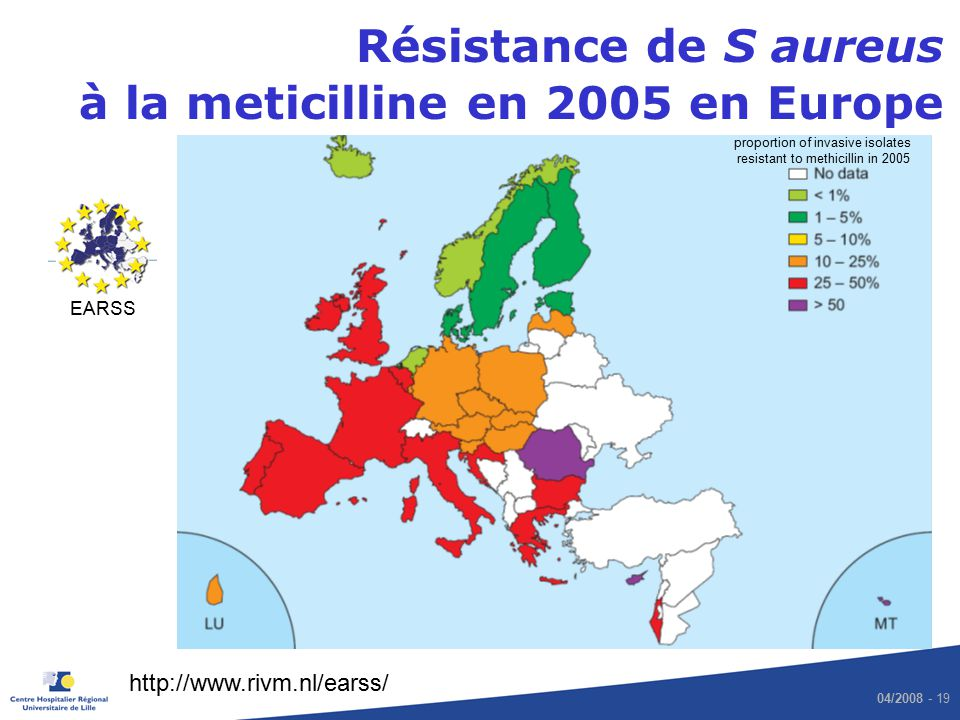 proportion of invasive isolates resistant to methicillin in 2005