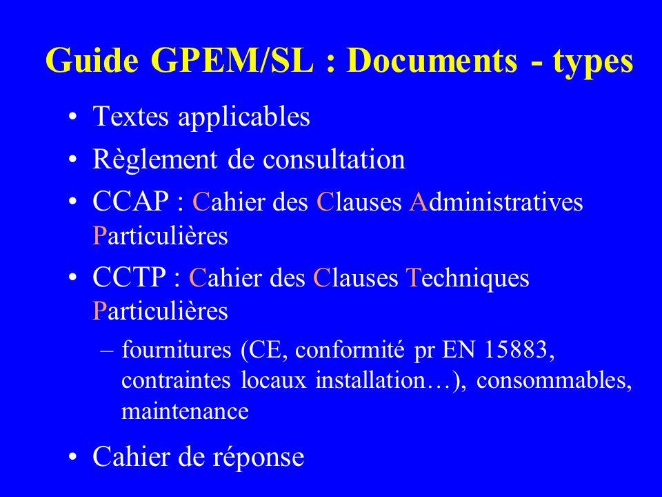 Guide GPEM/SL : Documents - types