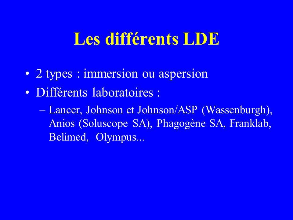Les différents LDE 2 types : immersion ou aspersion