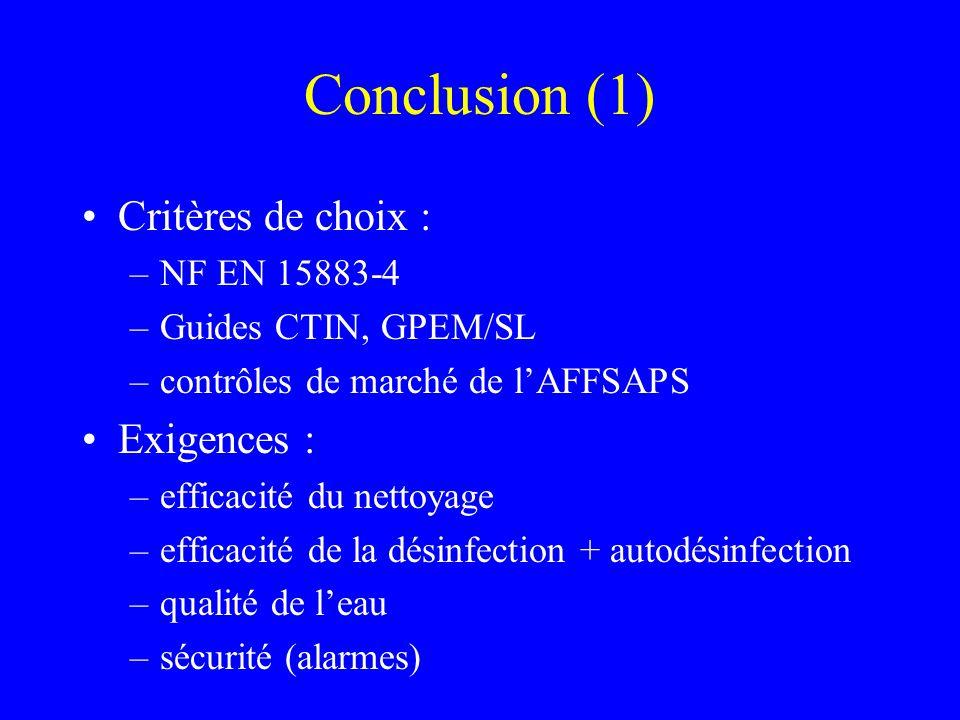 Conclusion (1) Critères de choix : Exigences : NF EN 15883-4