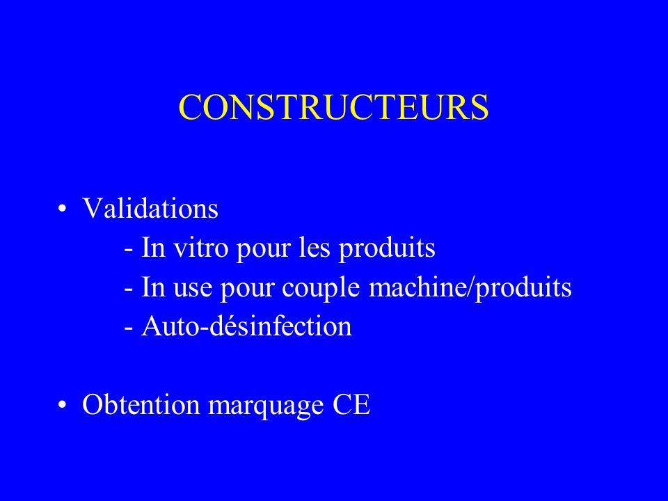CONSTRUCTEURS Validations - In vitro pour les produits