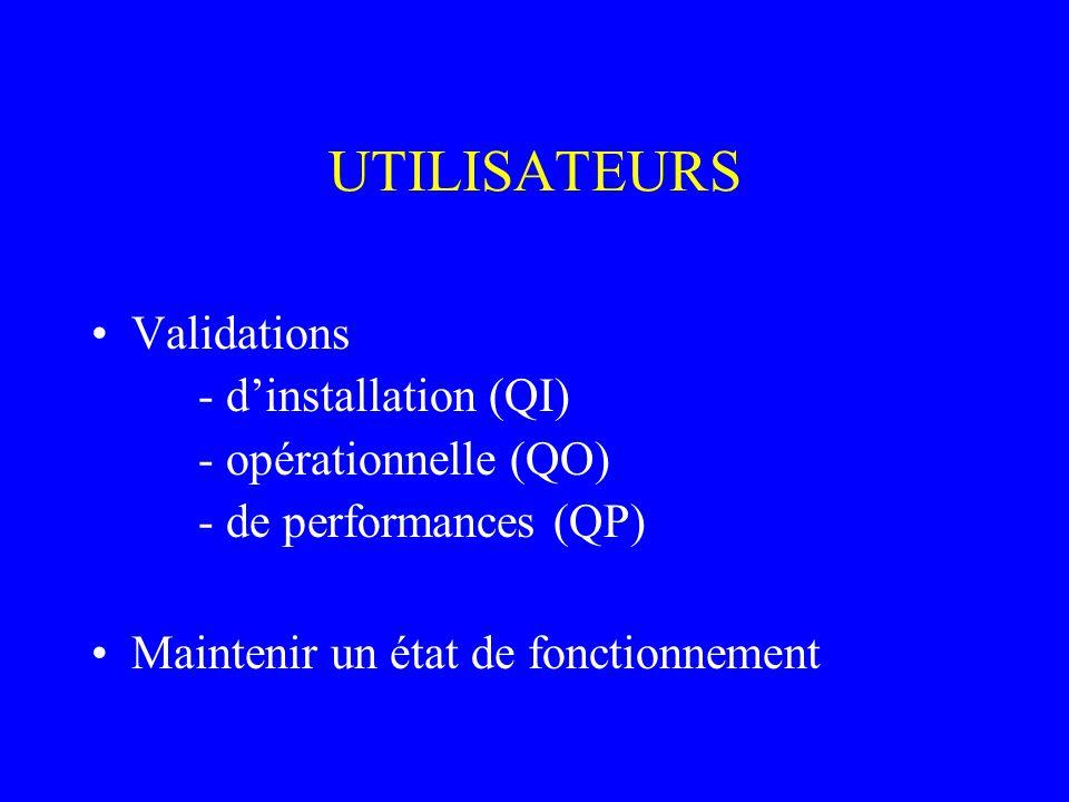 UTILISATEURS Validations - d'installation (QI) - opérationnelle (QO)