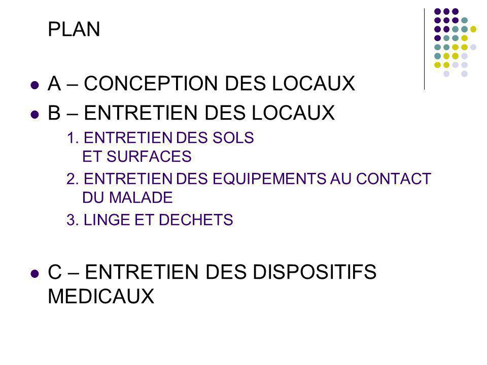 A – CONCEPTION DES LOCAUX B – ENTRETIEN DES LOCAUX