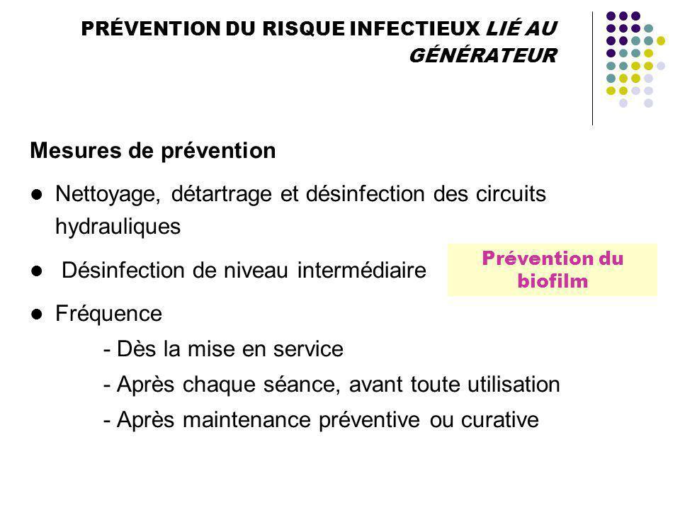 PRÉVENTION DU RISQUE INFECTIEUX LIÉ AU GÉNÉRATEUR