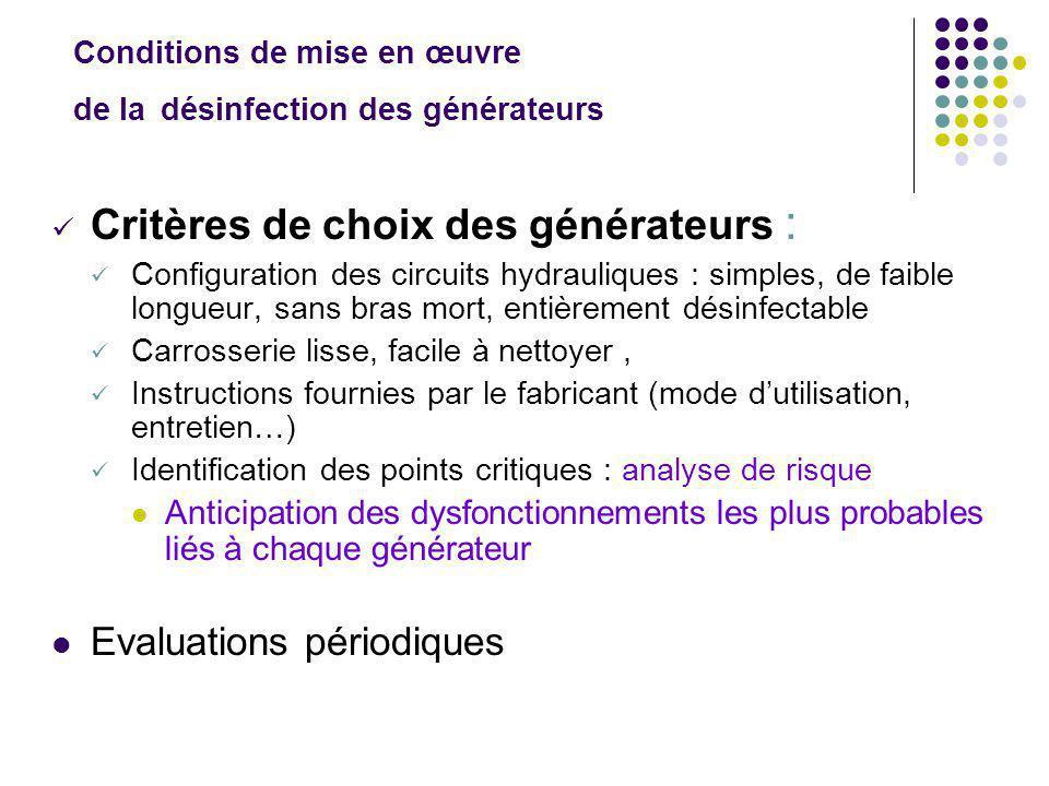 Conditions de mise en œuvre de la désinfection des générateurs