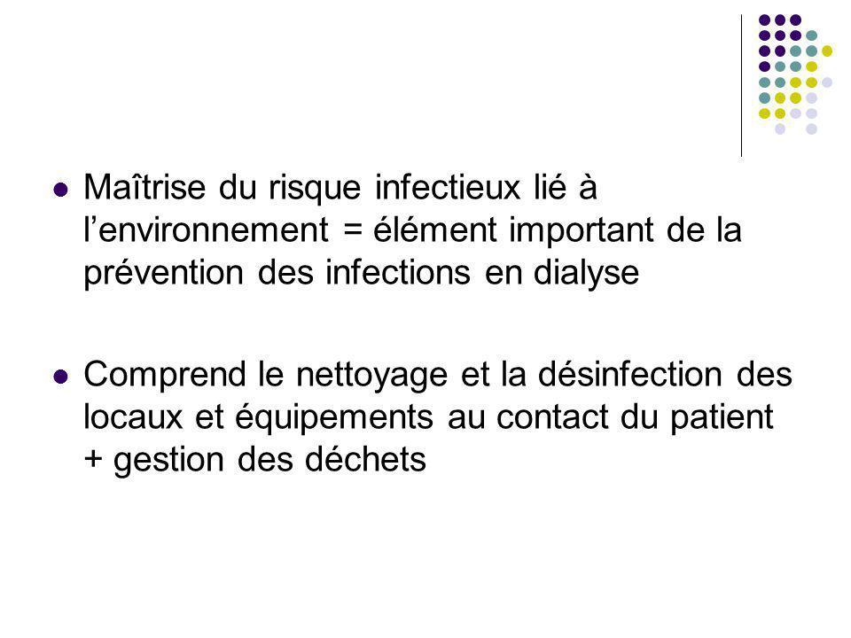 Maîtrise du risque infectieux lié à l'environnement = élément important de la prévention des infections en dialyse