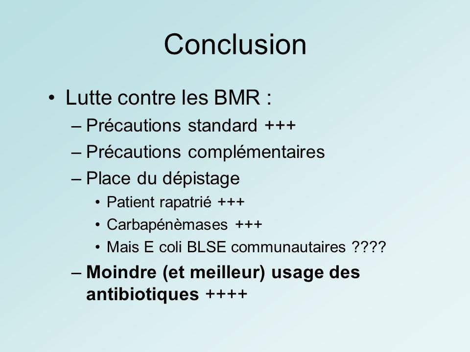 Conclusion Lutte contre les BMR : Précautions standard +++