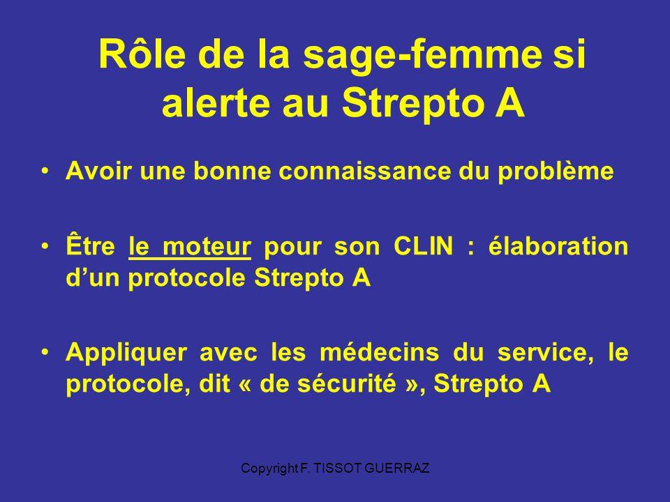 Rôle de la sage-femme si alerte au Strepto A