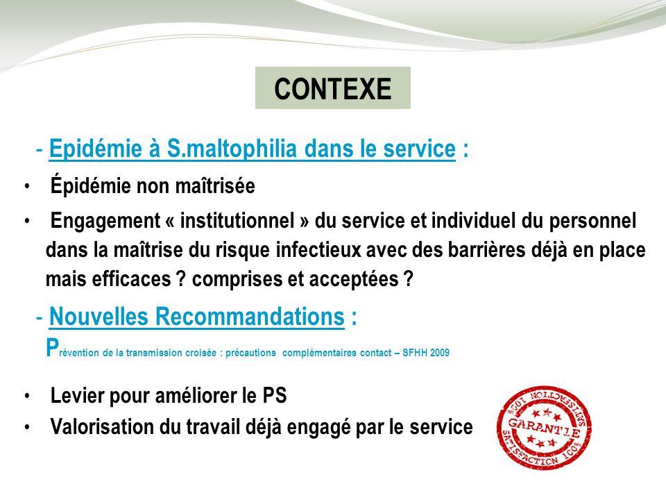 CONTEXE - Epidémie à S.maltophilia dans le service :