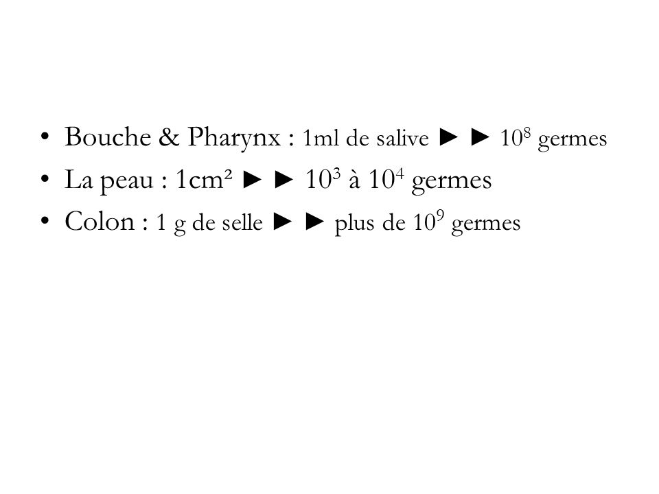 Bouche & Pharynx : 1ml de salive ► ► 108 germes