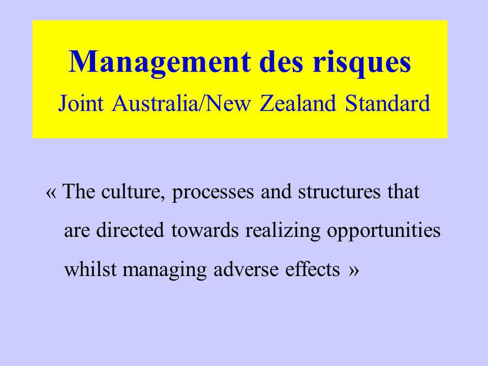 Management des risques Joint Australia/New Zealand Standard