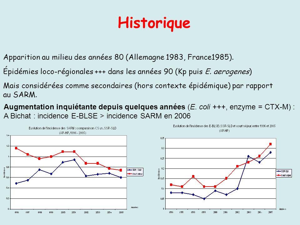Historique Apparition au milieu des années 80 (Allemagne 1983, France1985). Épidémies loco-régionales +++ dans les années 90 (Kp puis E. aerogenes)