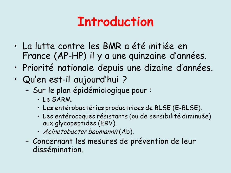 Introduction La lutte contre les BMR a été initiée en France (AP-HP) il y a une quinzaine d'années.