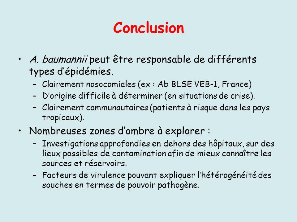 Conclusion A. baumannii peut être responsable de différents types d'épidémies. Clairement nosocomiales (ex : Ab BLSE VEB-1, France)