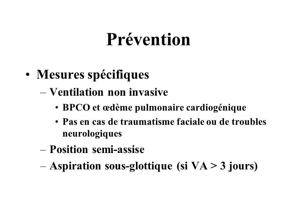 Prévention Mesures spécifiques Ventilation non invasive