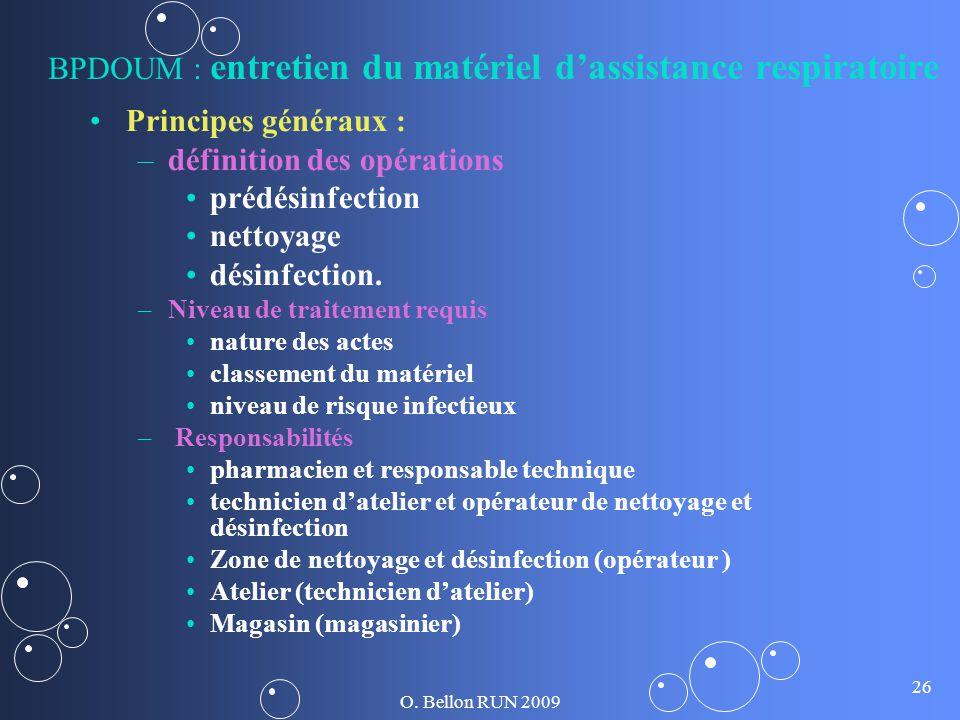 BPDOUM : entretien du matériel d'assistance respiratoire