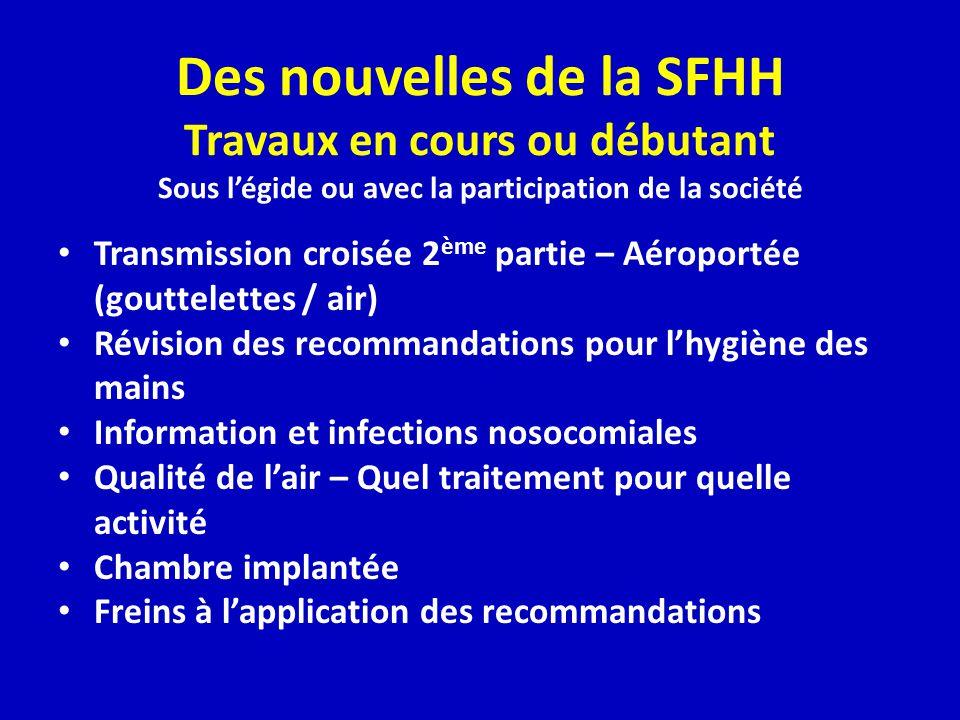 Des nouvelles de la SFHH Travaux en cours ou débutant Sous l'égide ou avec la participation de la société