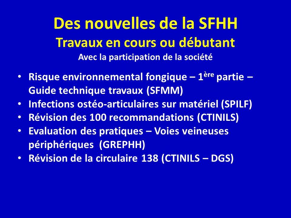 Des nouvelles de la SFHH Travaux en cours ou débutant Avec la participation de la société
