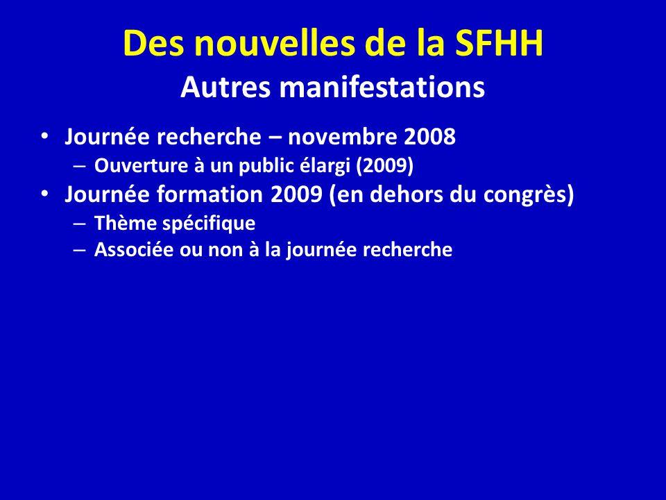 Des nouvelles de la SFHH Autres manifestations