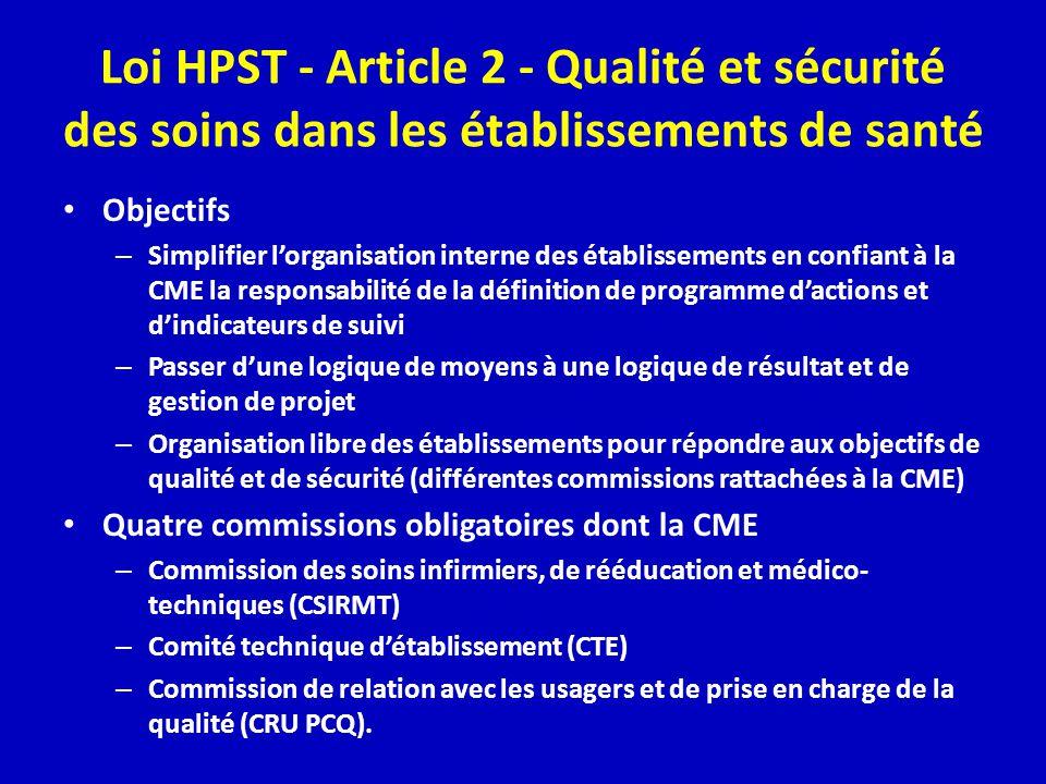 Loi HPST - Article 2 - Qualité et sécurité des soins dans les établissements de santé