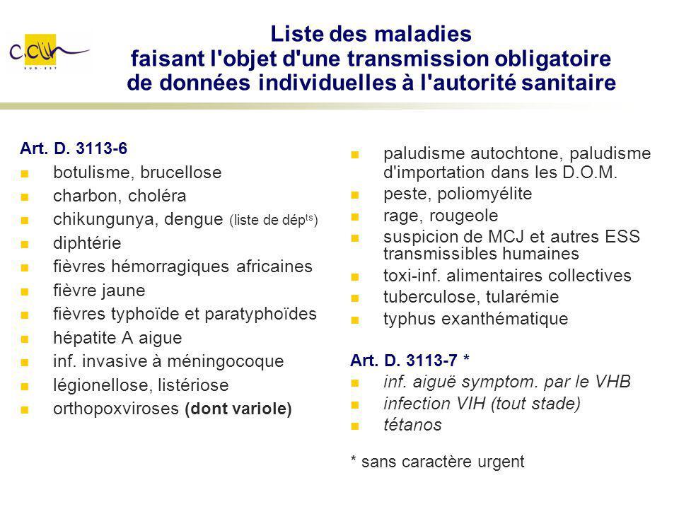Liste des maladies faisant l objet d une transmission obligatoire de données individuelles à l autorité sanitaire