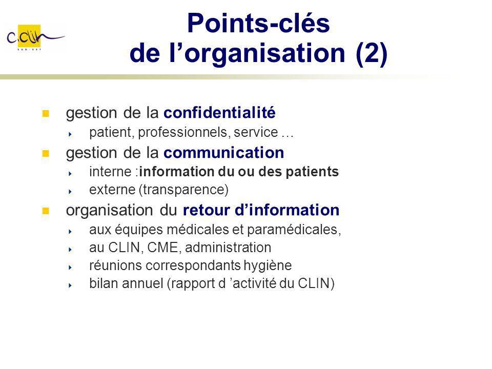 Points-clés de l'organisation (2)