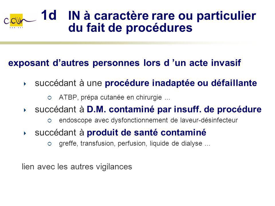 1d IN à caractère rare ou particulier du fait de procédures