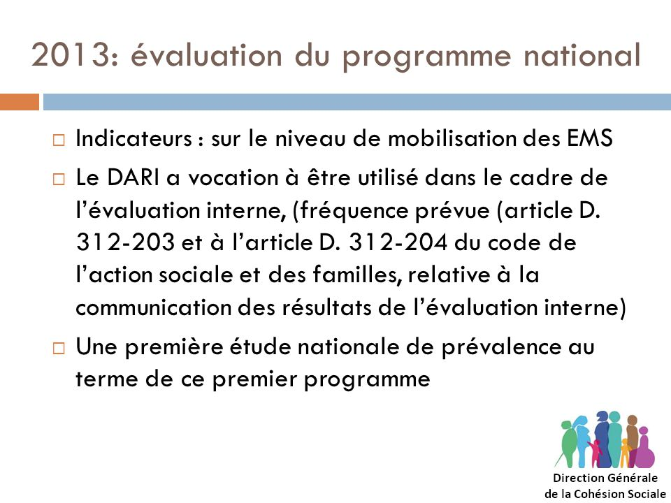 2013: évaluation du programme national