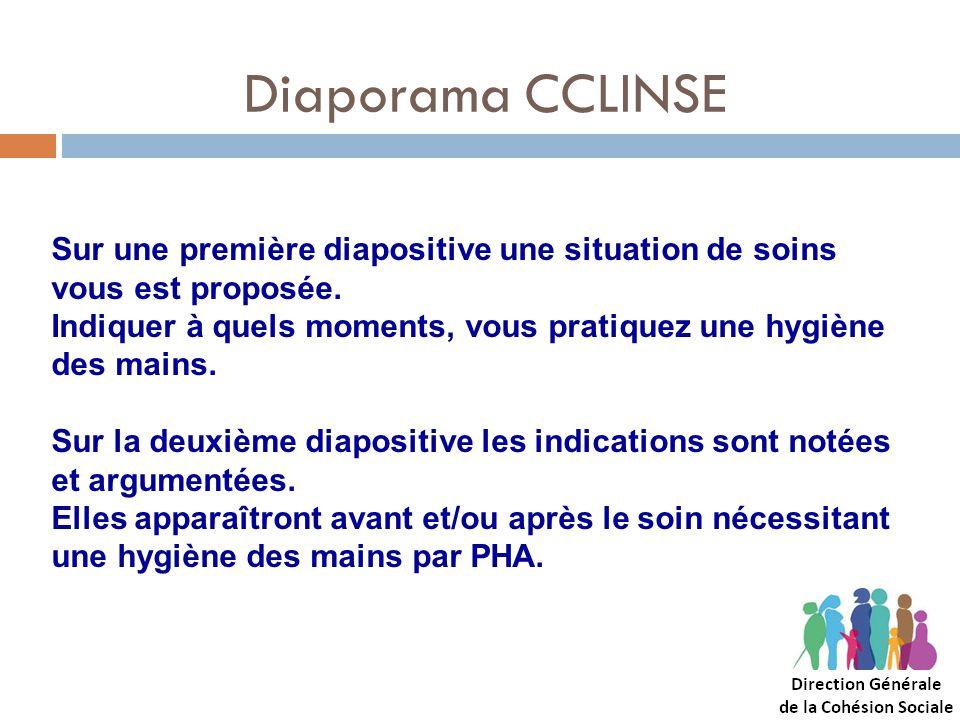 Diaporama CCLINSE Sur une première diapositive une situation de soins vous est proposée.