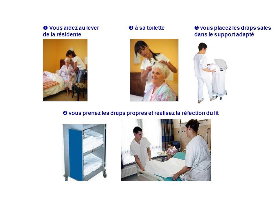  Vous aidez au lever de la résidente.  à sa toilette. ➌ vous placez les draps sales. dans le support adapté.