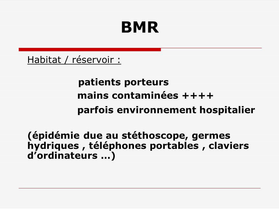 BMR Habitat / réservoir : patients porteurs mains contaminées ++++