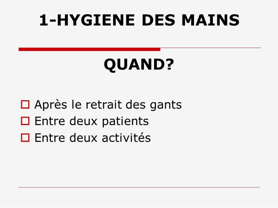 1-HYGIENE DES MAINS QUAND Après le retrait des gants