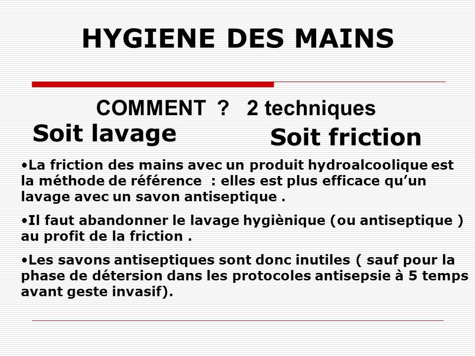 HYGIENE DES MAINS Soit lavage Soit friction COMMENT 2 techniques